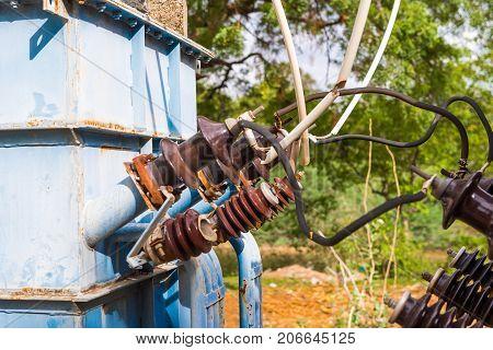 View of the transformer Puttaparthi Andhra Pradesh India. Close-up