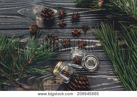 Christmas Tree Anise And Pine Cones Flat Lay. Fir Branches With Anise On Rustic Wooden Background To