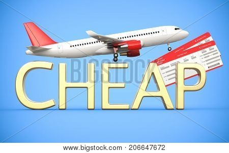 3d render airline, air tickets with airplane, airliner and gold text is cheap, on the blue background. Symbolizing cheap flight tickets.