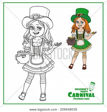 Cute Girl  In Leprechaun Costume With A Pot Of Gold Color And Outlined For Coloring Page