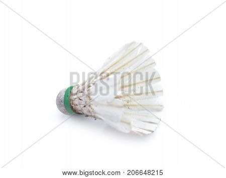 Dirty shuttlecock for badminton isolated on white background