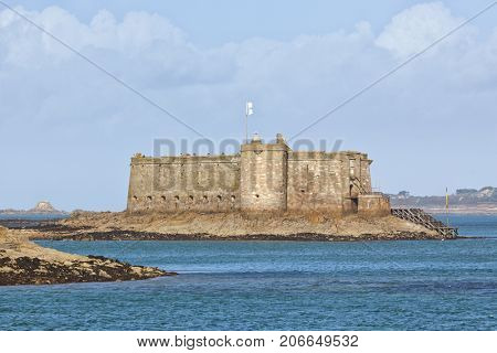 Chateau de Taureau, 16th century fortress in the Bay of Morlaix off Carantec, Brittany, France