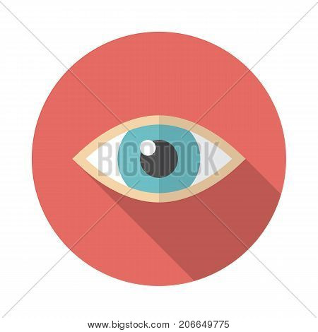 Eye circle icon with long shadow. Flat design style. Eye simple silhouette. Modern minimalist round icon in stylish colors. Web site page and mobile app design vector element.