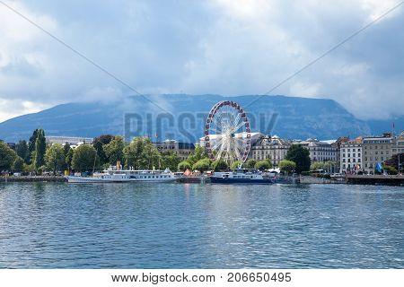 GENEVA, SWITZERLAND - August 9, 2017: the Geneva Lake
