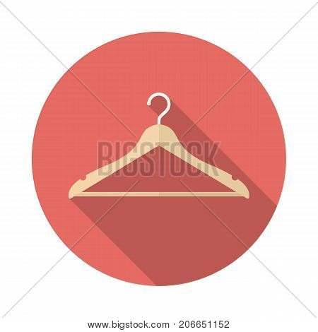 Hanger circle icon with long shadow. Flat design style. Hanger simple silhouette. Modern minimalist round icon in stylish colors. Web site page and mobile app design vector element.