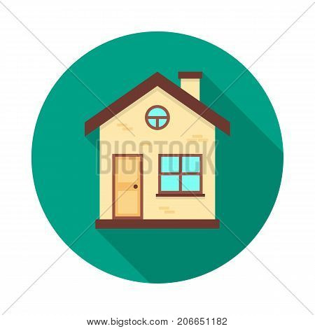 House circle icon with long shadow. Flat design style. House simple silhouette. Modern minimalist round icon in stylish colors. Web site page and mobile app design vector element.