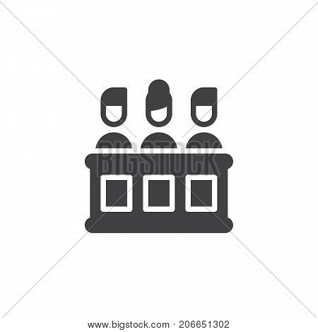 Jury icon vector, filled flat sign, solid pictogram isolated on white. Symbol, logo illustration.