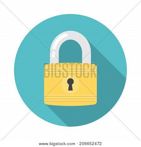 Lock circle icon with long shadow. Flat design style. Lock simple silhouette. Modern minimalist round icon in stylish colors. Web site page and mobile app design vector element.