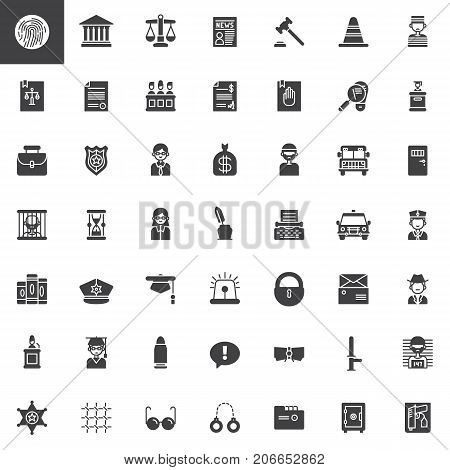 Law and justice vector icons set, modern solid symbol collection, filled pictogram pack. Signs, logo illustration. Set includes icons as fingerprint, courthouse, prison, policeman, judge