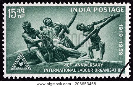 INDIA - CIRCA 1959: A stamp printed in India issued for the 40th anniversary of International Labour Organization shows The Triumph of Labour after D. P. Roy Chowdhary, circa 1959.