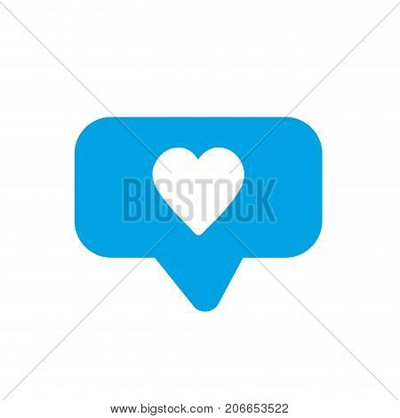 silhouette chat bubble with heart design inside vector illustration