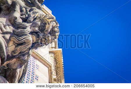 Gargoyle on a building in Sintra Portugal