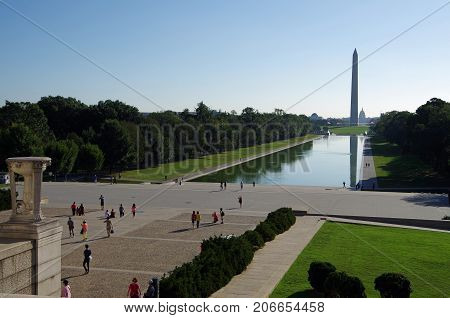 Washington DC, United States - September 27, 2017: Washington Monument viewed from the Lincoln Memorial.