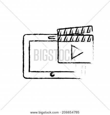 figure tablet technology with clapperboard video icon vector illustration