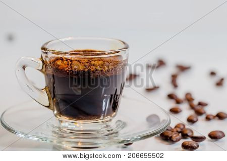 Transparent Hot Coffee Cup And Bread In White Blackground
