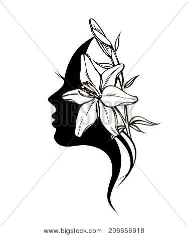 silhouette of young woman face profile lady