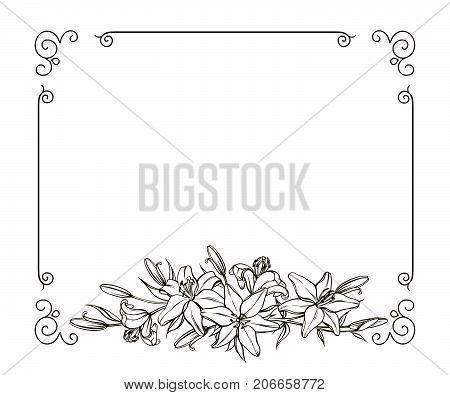 Blank floral frame border. Vector swirl border decorative