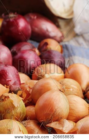 Onions and shallots for cooking at market