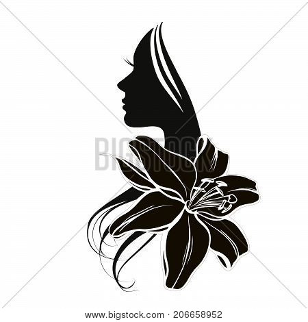 Woman's face in circular shape with flower, female vector logo design template. Abstract design concept for beauty salon, massage, makeup, cosmetic and spa.