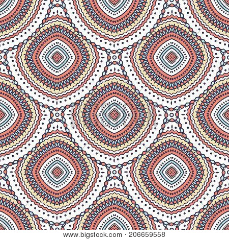 Beautiful boho chic vector seamless repeat pattern. Ethnic ornament. Detailed illustration. Great for fabric and textile, prints, phone case, invitation, packaging, greeting cards.