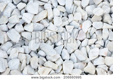 Small Stones Of White Color With Gray-blue Tint. Close Up Texture.