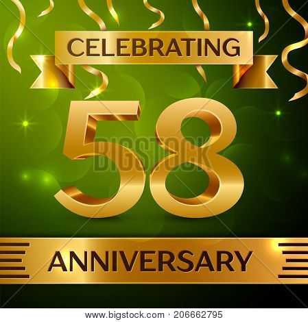 Realistic Fifty eight Years Anniversary Celebration Design. Confetti and gold ribbon on green background. Colorful Vector template elements for your birthday party. Anniversary ribbon