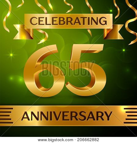 Realistic Sixty five Years Anniversary Celebration Design. Confetti and gold ribbon on green background. Colorful Vector template elements for your birthday party. Anniversary ribbon