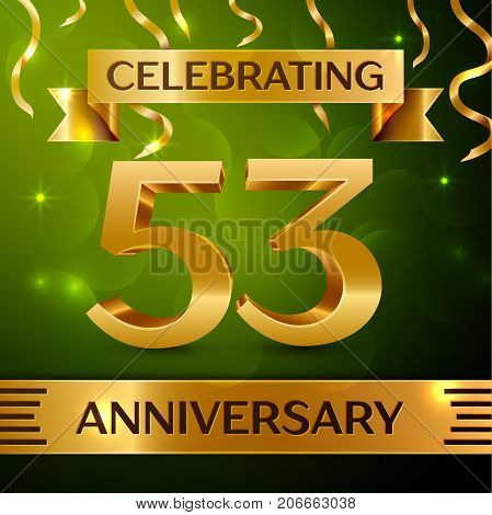 Realistic Fifty three Years Anniversary Celebration Design. Confetti and gold ribbon on green background. Colorful Vector template elements for your birthday party. Anniversary ribbon