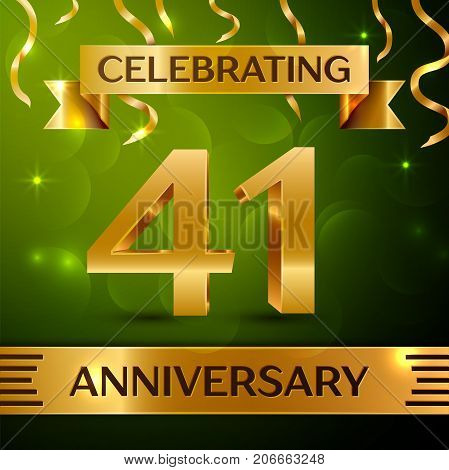 Realistic Forty one Years Anniversary Celebration Design. Confetti and gold ribbon on green background. Colorful Vector template elements for your birthday party. Anniversary ribbon
