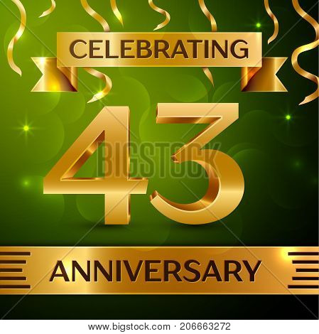Realistic Forty three Years Anniversary Celebration Design. Confetti and gold ribbon on green background. Colorful Vector template elements for your birthday party. Anniversary ribbon