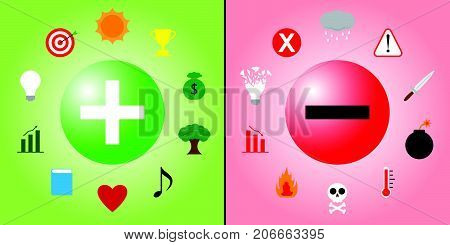Positive Symbol Is Encircled By Creativity & Recreation Icons And Negative Symbol Is Encircled By Violence & Depression Icons Means Optimistic/Pessimistic Attitude Creates Good/Bad Things