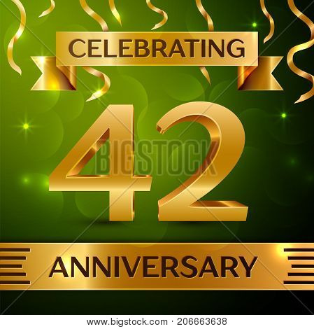 Realistic Forty two Years Anniversary Celebration Design. Confetti and gold ribbon on green background. Colorful Vector template elements for your birthday party. Anniversary ribbon