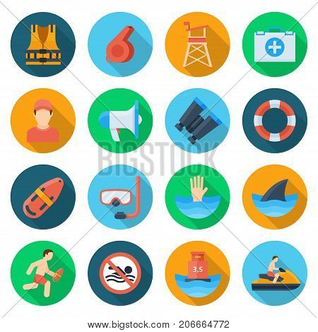 Beach lifeguard set. Service qualification icons to keep people safe on water. Vector flat style cartoon illustration isolated on white background