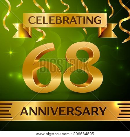 Realistic Sixty eight Years Anniversary Celebration Design. Confetti and gold ribbon on green background. Colorful Vector template elements for your birthday party. Anniversary ribbon