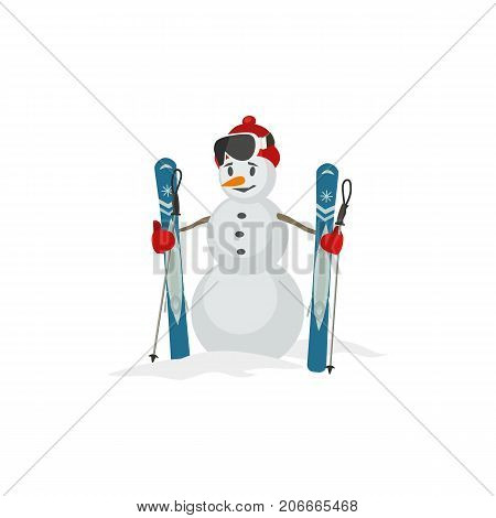 Snowman icon. Man from snow balls with mountain ski sport equipment symbol isolated. Red hat gloves ski poles. Playful colorful flat cartoon. Winter season outdoors background vector illustration