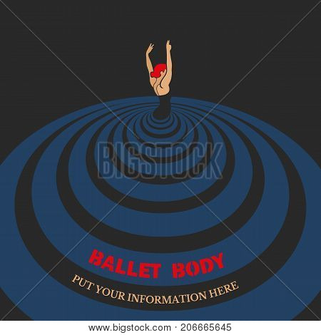 Dance icon concept. Ballet studio design template. Flat pop art. Classic or folk dance class banner background with symbol of abstract female dancer ballerina in dancing pose. Vector illustration