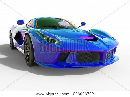 Sports car front view. The image of a sports violet-blue pearl car on a white background. 3d illustration