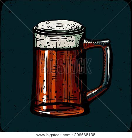 Retro style beer mug, cup or glass engraving. Red ale, amber ale, craft beer, light beer, lager, Indian pale ale, American pale ale. Local brewery. Vintage vector engraving illustration for web, poster, label, invitation to oktoberfest festival, party. Be