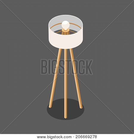 lamp. white round lamp on the long wooden legs. fashionable floor lamp with one bulb. vector illustration of an isometric view, in isolation from the background
