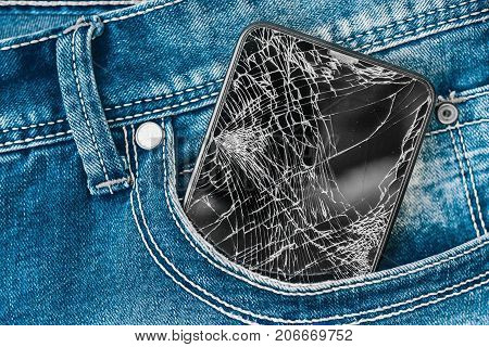 Mobile Phone Screen In A Denim Pocket. Jeans Background, Denim Jeans Background With Seam Of Jeans F