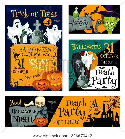 Halloween night zombie party banner template. Halloween holiday pumpkin lantern, bat and ghost, witch and black cat, creepy skeleton skull, house and cemetery, coffin and moon for invitation design