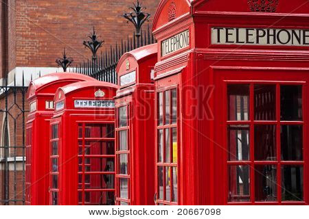 A row of London phone booths
