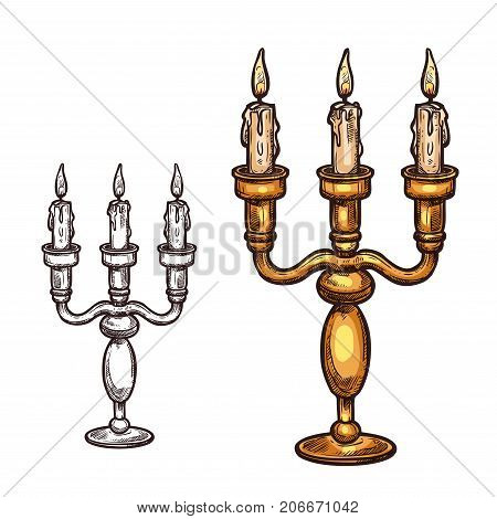 Halloween candle in candlestick sketch icon. Vector burning flame three candles in old retro brass candelabrum. Isolated symbol of Halloween horror holiday party and trick or treat holiday celebration