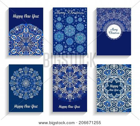 Happy New Year Cards. Vector text on flourish mandala backgrounds. Christmas Balls decoration. 5 to 7 ratio. Abstract flowers in blue and white. Intricate design elements for print.