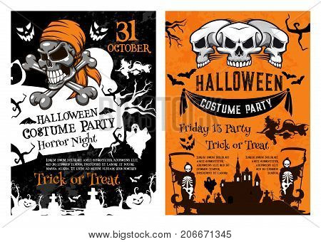 Halloween pumpkin, pirate skull and spooky skeleton for horror night party poster template. Creepy ghost and witch, haunted house and cemetery grave for Halloween banner and invitation flyer design