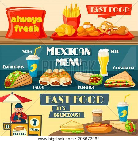 Fast food banners set for fastfood or street food restaurant or bistro. Vector flat design of burger, mexican taco or burrito, cheeseburger or hamburger and hot dog sandwich and ice cream vendor booth