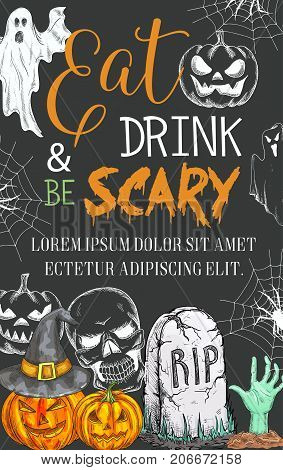 Halloween party for eat and drink scary holiday celebration design. Vector pumpkin Jack lantern in witch hat and Halloween spooky ghost in tombstone on black graveyard or zombie monster skeleton hand