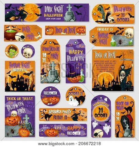 Halloween spooky party tag and label set. Horror ghost, Halloween pumpkin in witch hat and scary bat, creepy skeleton skull, haunted house with cemetery, grave and zombie for autumn holiday design