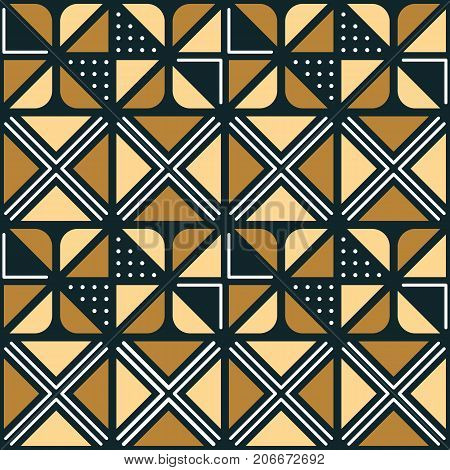 National African ornament with triangular elements. Seamless pattern for textiles. Border for decorating clothes in African style.