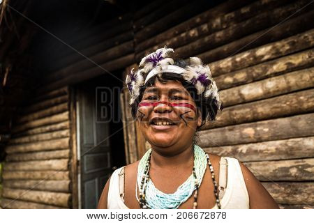 Indigenous woman from Tupi Guarani tribe in Brazil